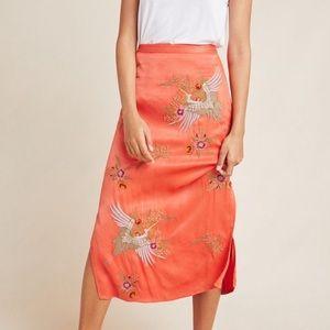 Anthropologie Crane Embroidered Skirt